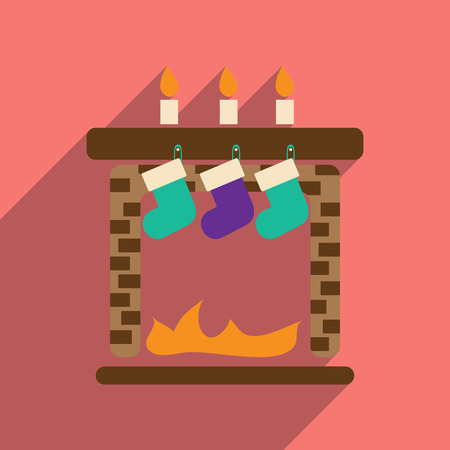 flat icon with long shadow Christmas fireplace