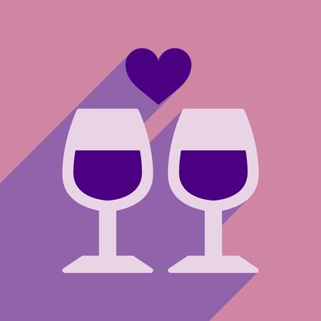 pareja comiendo: Flat web icon with long shadow wine glasses Vectores