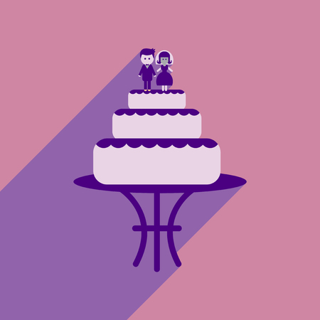 Flat web icon with long shadow wedding cake