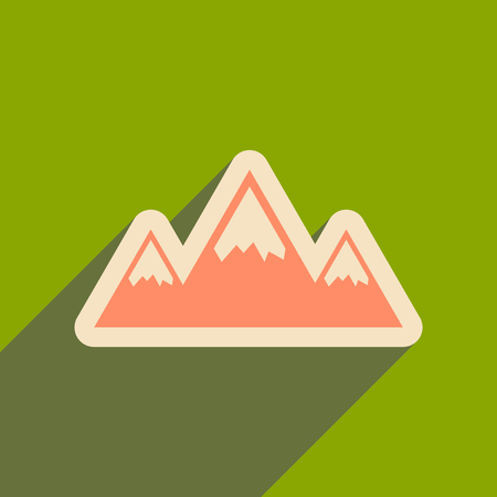 Flat web icon with long shadow mountains Illustration