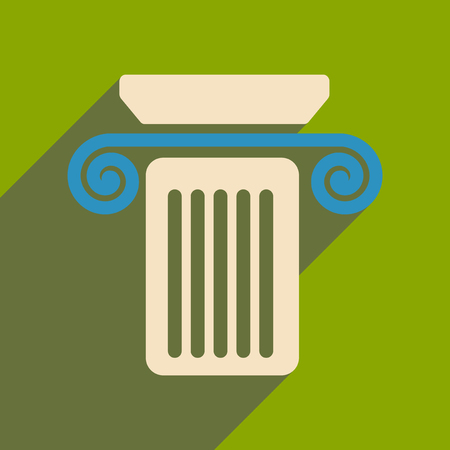 roman pillar: Flat web icon with long shadow column Illustration