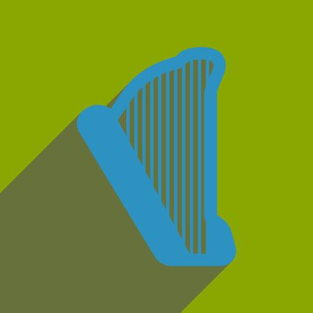 arpa: icono de banda plana con una larga sombra arpa
