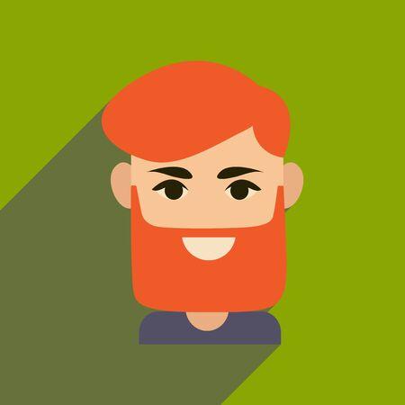 Flat web icon with long shadow mens haircut