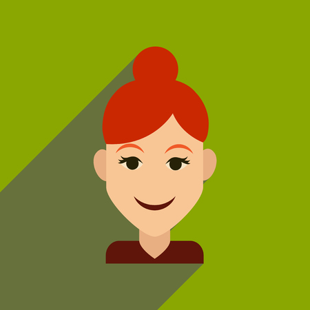Flat web icon with long shadow womens haircut