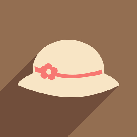 Flat with shadow icon and mobile applacation ladys hat