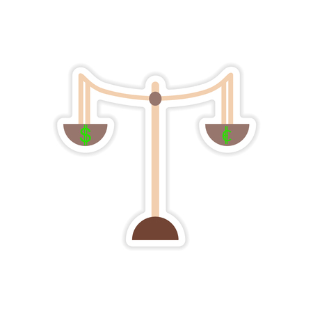 changes in equity: stylish sticker on paper Scales and coins Illustration