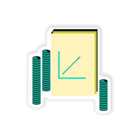 uptrend: stylish sticker on paper Report and coins Illustration