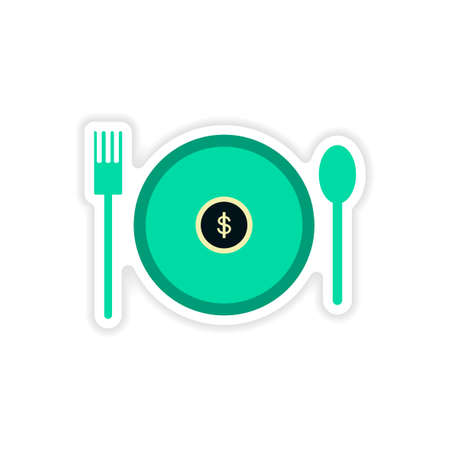 investor: stylish sticker on paper money in plate Illustration