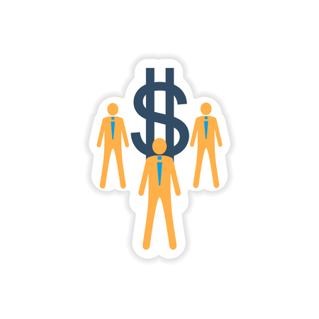 stylish sticker on paper businessmen and dollar Illustration