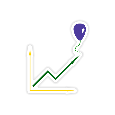 stylish sticker on paper balloon and schedule