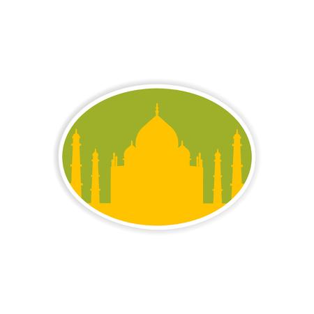 paper sticker Indian Taj Mahal on white background Illustration