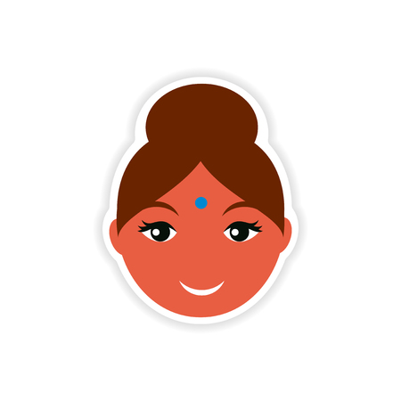 east indian: paper sticker Indian woman on white background