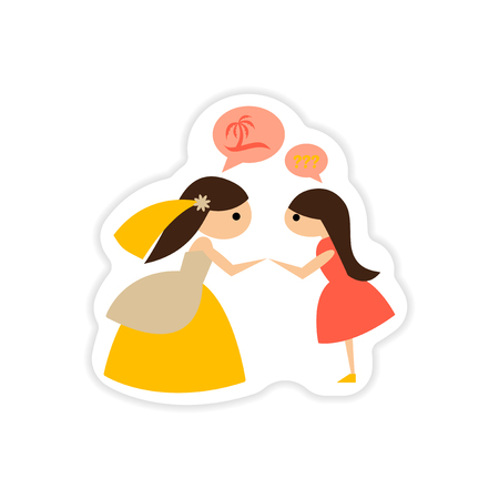 paper sticker on white background Bride with friend