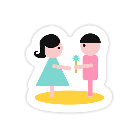 paper sticker on white background boy gives flower girl