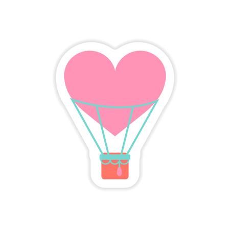 paper sticker on white background heart air balloon Illustration