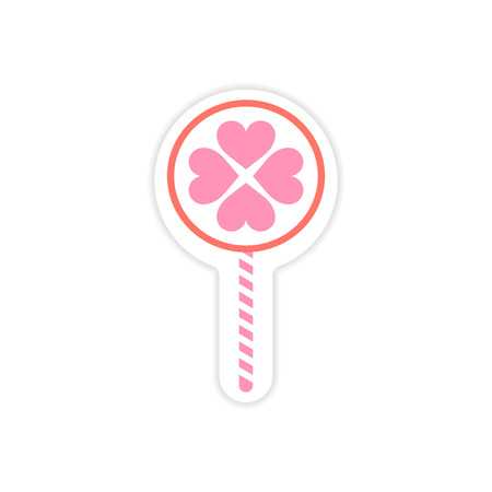 paper sticker on white background candy heart