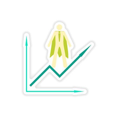 Stylish sticker on paper man economic schedule Illustration