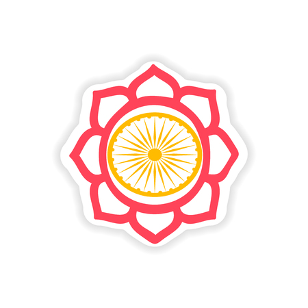 sanskrit: paper sticker Indian sign on white background