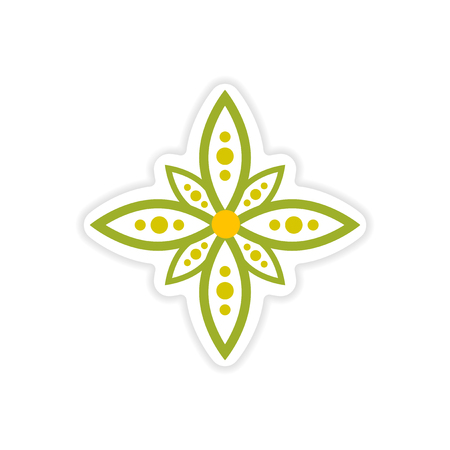 sanskrit: paper sticker Indian sign on white background