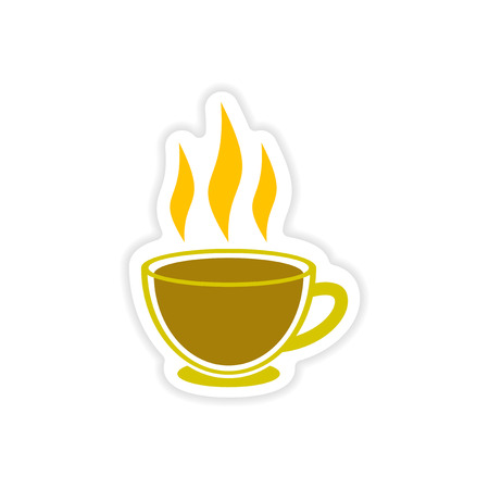 Paper sticker Indian tea cup on white background