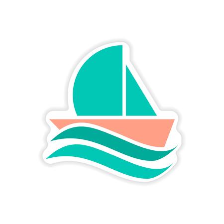 Paper sticker sailing ship on white background Illustration