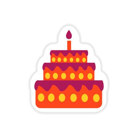 cupcake illustration: Stylish paper sticker on white background cake candle