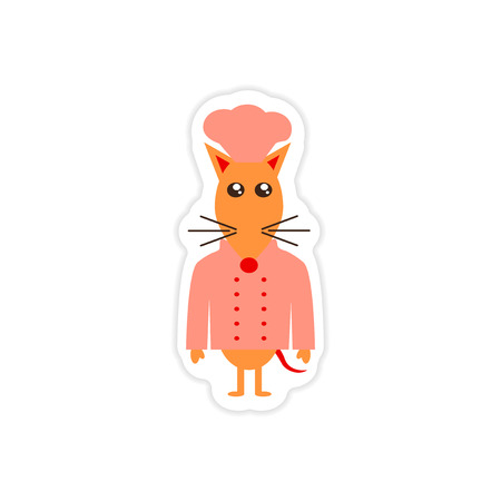 stylish paper sticker on white background mouse chef