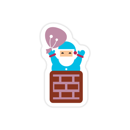 paper sticker on white background Santa in chimney Reklamní fotografie - 78150915