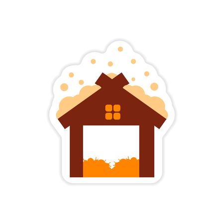 paper sticker on white background barn in snow