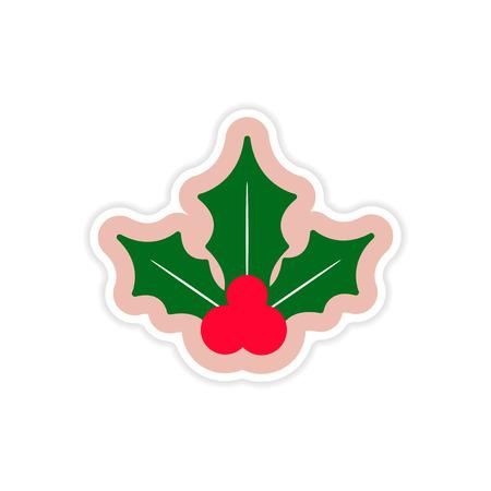 a sprig: paper sticker on white background sprig mistletoe
