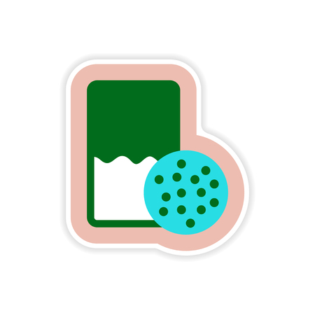 christmas cookie: paper sticker on white background glass of milk biscuits