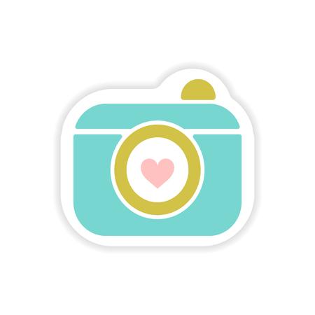 paper sticker on white background wedding camera