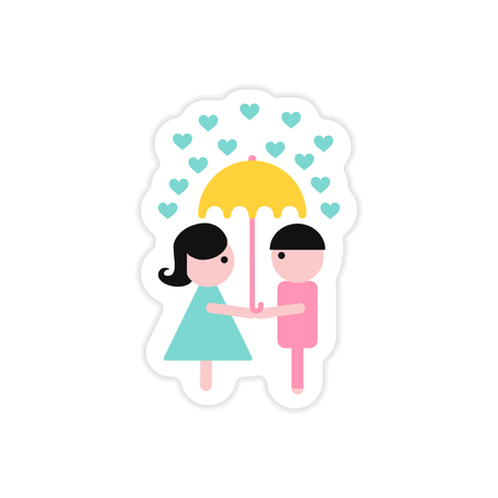 Paper sticker on white background boy girl umbrella Illustration