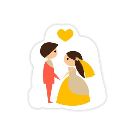 paper sticker on white background groom on knees bride Illustration
