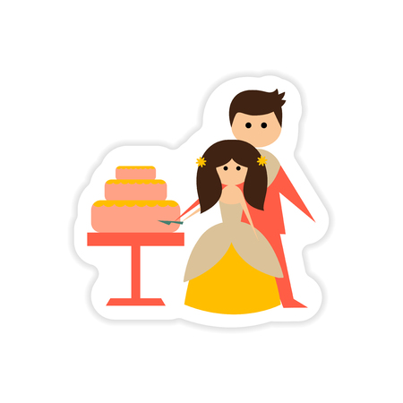 Paper sticker on white background Bride Groom Cake