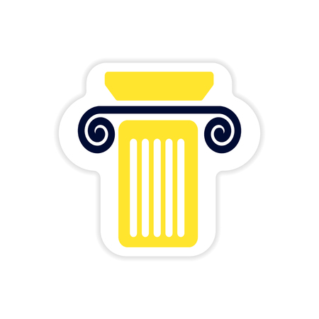 roman pillar: paper sticker on white background Greek column