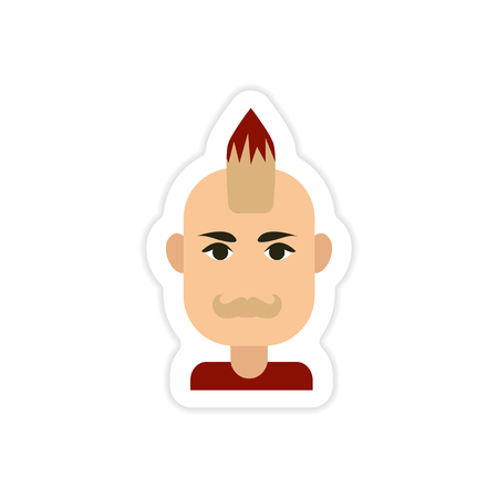 Paper sticker on white background mens haircut