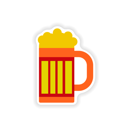 stylish paper sticker on white background glass beer