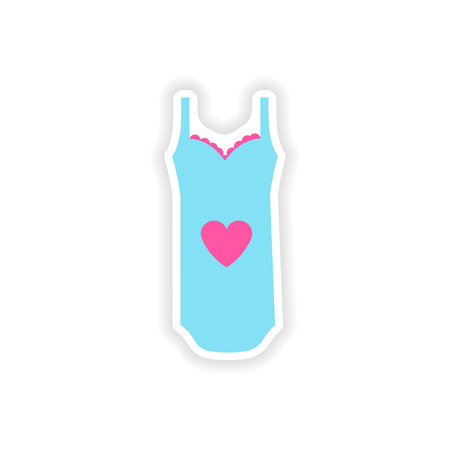 stylish paper sticker on white background nightdress Imagens - 78151313