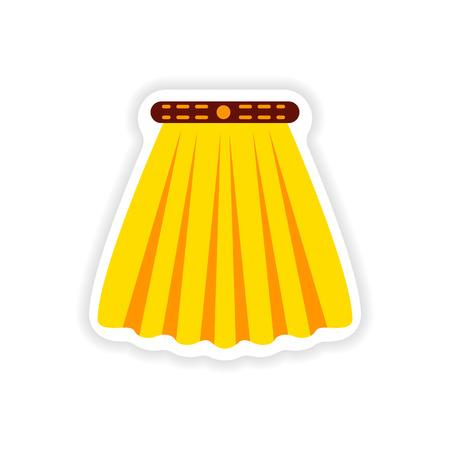 stylish paper sticker on white background skirt Illustration