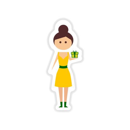 paper sticker on white background girl gift