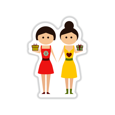 happy shopper: paper sticker on white background Two girls gifts Illustration