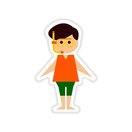 free diver: paper sticker on white background boy in diving mask