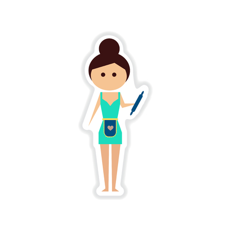paper sticker on white background girl housekeeper