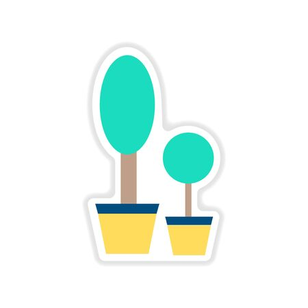Autocollant de papier sur les pots de fleurs décoratifs de fond blanc Banque d'images - 78151725