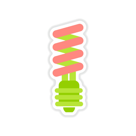 paper sticker on white background Energy saving light bulb