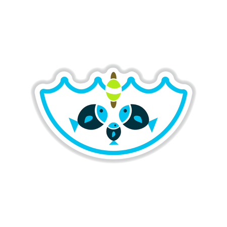 paper sticker on white background fish water Illustration