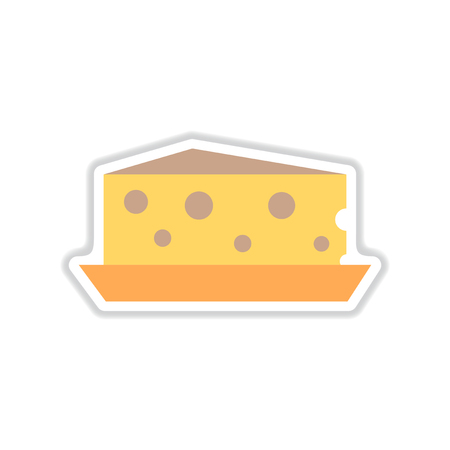 paper sticker on white background Dutch cheese Иллюстрация