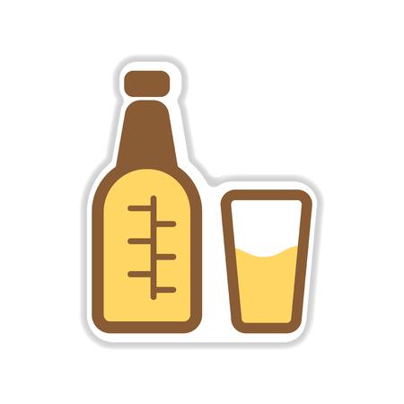 distill: paper sticker on white background glass bottle