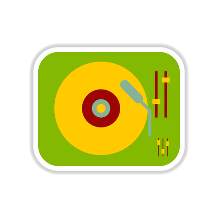 paper sticker on white background record player Illustration